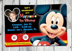 Mickey Mouse Birthday Invitation: Printable Boys by partyprintouts