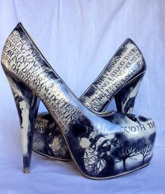 Edgar Allan Poe Shoes by Miss Fiendish UK 6 by MissFiendishApparel, £50.00 These are amazing too!