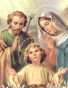 Holy Family Holy Card. Catholic Saints - St. Mary and St. Joseph with our Lord Jesus Savior child.                                                                                                                                                      More