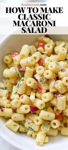 This old-fashioned macaroni salad with crisp vegetables dressed in a creamy but light mayonnaise dressing is just right for any picnic or barbecue. Creamy Macaroni Salad, Classic Macaroni Salad, Simple Macaroni Recipe, Best Macaroni Salad, Easy Pasta Salad Recipe, Easy Salad Recipes, Recipe For Macaroni Salad, Homemade Cookbook, Pasta Dishes