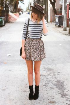 Fall outfit: hat, blue striped collared sweater, floral skirt, black combat boots Steffy's Pros and Cons