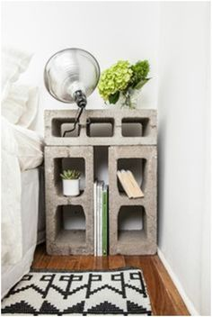 Concrete brick as a nightstand. Clever.