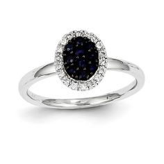 14K White Gold Diamond & Sapphire Oval Ring Y11298S/AA
