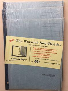 New Old Unopened Stock - - Warwick Sub Dividers Vintage Labels, Vintage Ephemera, Vintage Postcards, Vintage Children's Books, Vintage Paper, Slam Book, After All These Years, Dividers, Vintage Advertisements