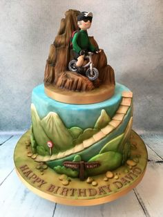 Cycling in the Himalayas Birthday Cake For Mountain Biking Lover Bycicle Vintage, Bycicle Art # Bicycle Cake, Bike Cakes, Mountain Bike Cake, Mountain Biking, Fondant Cakes, Cupcake Cakes, Nature Cake, Foto Pastel, Camping Cakes
