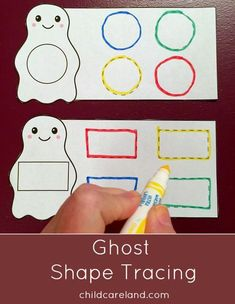 ghost shape tracing for pre-writing and fine motor skills. by annmarie Preschool Themes, Preschool Lessons, Preschool Classroom, Preschool Learning, Teaching, Halloween Preschool Activities, Holiday Activities, Math Activities, Physical Activities