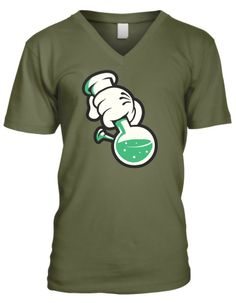 Cartoon Hand Holding a Bong Mens V-neck T-shirt, Funny Weed Smoking White Gloves Cartoon Mickey Hand and Bong Design Mens V-Neck Tee