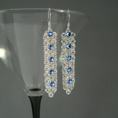 Chain Maille Ribbon Earrings in Sapphire Blue Swarovski Crystal