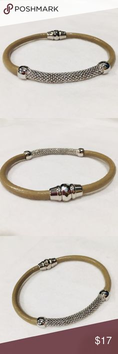 Fossil – Leather & Ball Chain Bracelet Worn twice only! been sitting in jewelry box. Leather and stainless steel. Magnetic clasp. No defects. Fossil Jewelry Bracelets