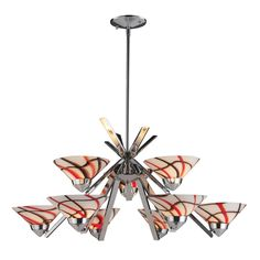 Chandelier in Chrome and Creme White Glass  #Chandelier #CeilingLighting #HomeDecor #InteriorDesigner #HomeDecorating #interiordesign #furniture #efurnituremart #HomeDecorator #decor #roomdecorating - eFurnitureMart, eFurniture Mart