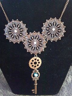 Steampunk Filigree Gear and Key Necklace by KreationsByKimH, $16.00