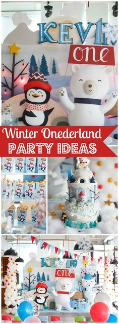 You won't believe this Winter Onederland party with penguins and polar bears! See more party ideas at http://CatchMyParty.com!