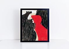 Red Riding Hood 8x10 Woodblock Quote Print - Unframed ( Other sizes available ). Originally done as a woodblock print with each layer carved out and then printed with quality inks. You will receive one high quality luster print ( UNFRAMED ). Available in multiple common photo sizes allowing you to find the perfect frame to fit your homes personality.
