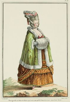 """A Most Beguiling Accomplishment: Galerie des Modes, 11e Cahier, 2e Figure (1778). Caption & long description translated by @Cassidy. """"Middle class woman in a striped Satin Gown with a furred pelisse and a white muff... The pelisse is a type of winter overcoat that Ladies throw on their shoulders to protect themselves against the rigors of the season. There are two types, the plain and the furred. The former are worn by the unimportant middle class; the latter, of higher quality, are…"""