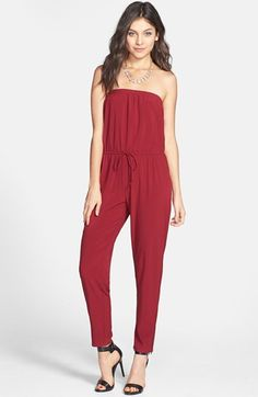 Socialite Strapless Chiffon Jumpsuit (Juniors) available at #Nordstrom Lets bring back the jumpsuit!