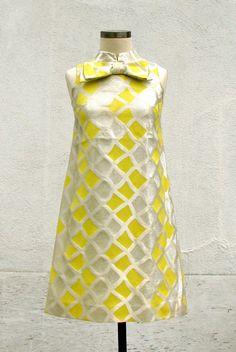 Motown magic 1960s silver & yellow mini dress, The Supremes. $85.00, via Etsy.