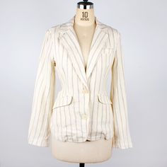 Linen Jacket Ivory Pinstripe fashion, ivory, women's jackets & suits