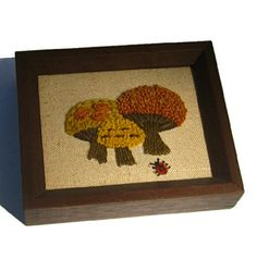 Mushroom Art Crewel Embroidery 1970 by CrowsCottage on Etsy, $9.00