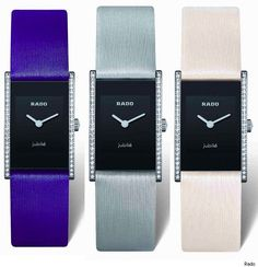Rado watches - Colored satin straps - in cream, sky blue, and a royal purple color. The case is rectangular with diamonds decorating the sides of it - 58 diamonds to be exact. Dial is a jet black color with small, but conspicuous hands. While simple, this new Integral Jubile is actually a very eye-pleasing watch for women. Inside the watch is a Swiss quartz precision movement.
