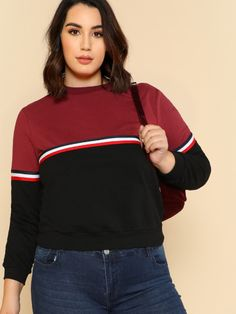 a11dd9ffaa Shop Plus Striped Tape Detail Two Tone Pullover online. SheIn offers Plus  Striped Tape Detail. Plus Size ShirtsPlus ...