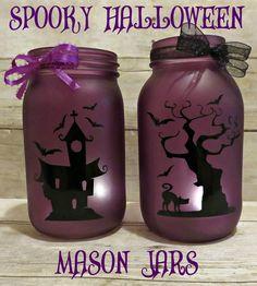 Spooky Halloween Mason Jars with Free Cut File!