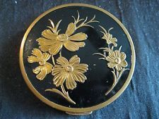 Vintage Compact with Powder Screen and Puff Enamel Top Goldtone