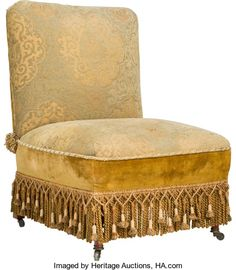 Furniture : English, An English Aesthetic Movement Turkish-Style Upholstered SlipperChair, late 19th century. 34 h x 25-1/2 w x 25 d inches (86....
