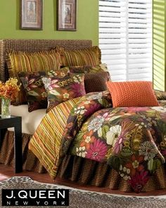 (Click to order - $185.00) J Queen New York Cabana Queen Comforter Set 4 Pc Tropical Floral From J QUEEN