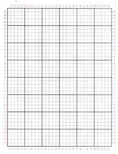 This graph paper has numbers around the perimeter. The negative values are in red and the positive values are in black. Every line is darker which makes it easier to read. Printable Graph Paper, Printable Scrapbook Paper, Bead Loom Patterns, Cross Stitch Patterns, Knitting Graph Paper, Parchment Craft, Note Paper, Writing Paper, Stenciling