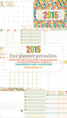 Organize DIY: A calendar is perfect for making to-do lists, jotting down your resolutions, blogging, menu planning, or just to organize your life. Please enjoy this collection of free printable 2015 calendars and planners which you can download and print instantly!