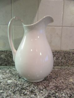 Beautiful large white ironstone pitcher- solid, vintage, fine condition by HeathersCollectibles on Etsy