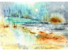 Watercolor Landscape, Watercolor Paintings, Original Paintings, Hidden Images, Winter Night, Winter Landscape, Spring Garden, Watercolours, Garden Art