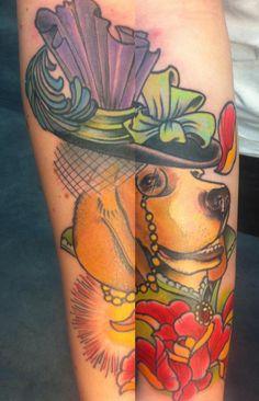 Fancy dog by Dorin Constantinescu @ Old Bastards Tattoo.
