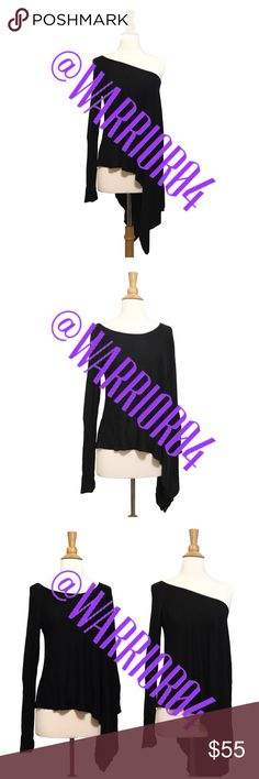 Romeo & Juliet Couture Black Asymmetrical Top NWT This gorgeous tunic by Romeo & Juliet Couture is asymmetrical, which gives it a unique style and has the option of wearing it off the shoulder on one side or over the shoulder, poncho style on that side. This top is perfect for a date night. Pair it with jeans for a casual look or dress it up with layers. Romeo & Juliet Couture Tops