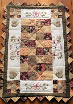 Quilted Table Runner with prairie points and embroidery