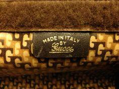 Label. pretty GUCCI suede and typical cotton stripe purse