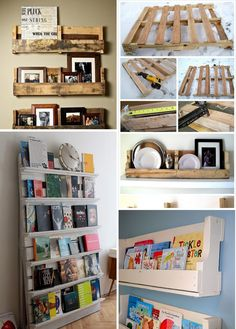Wooden pallet bookshelfs for tv/play/guest room - perfect for @Bianca Cantu