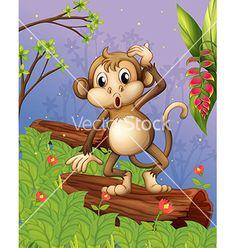 Cartoon monkey vector on VectorStock®
