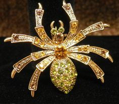 "Crystal Rhinestones Spider Brooch Pin Amber & Green Rhinestones 2"" #Unsigned"