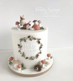 Baby Girl Birthday Cake, Baby Girl Cakes, First Birthday Cakes, Gateau Baby Shower, Baby Shower Cakes, Woodland Cake, Sugar Cake, Celebration Cakes, Party Cakes