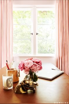 Pink curtains in home office
