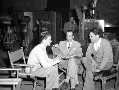 Katharine Hepburn, director Vincente Minnelli and producer Pandro S. Berman on the set of Undercurrent