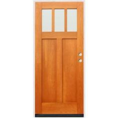 Charmant Pacific Entries Craftsman 3 Lite Stained Birch Wood Entry Door With 6 In.  Wall Series F23ML6 At The Home Depot