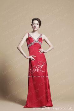 A-line wine red V-neck Floor-length Satin Evening Dress ruo_0009  http://www.mydresspro.co.uk/17-evening-dresses