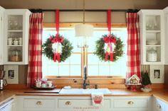 cottage kitchen Christmas wreaths in window