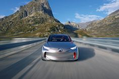 """#Renault presents #EOLAB, a new prototype which explores ways to deliver ultra-low fuel consumption. It boasts NEDC combined cycle consumption of 1 litre/100km, equivalent to 22g of CO2/km. To achieve such low figures, the designers focused their efforts on three main areas: minimising weight, refining aerodynamics and using """"Z.E. Hybrid"""" technology for all, a brand new initiative which permits zero emissions motoring during everyday use. (c) ADRIEN TOUBIANA/L'ECURIE - Droits réservés"""