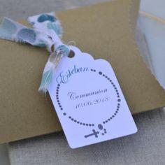 étiquette personnalisée, communion, chapelet, papier blanc