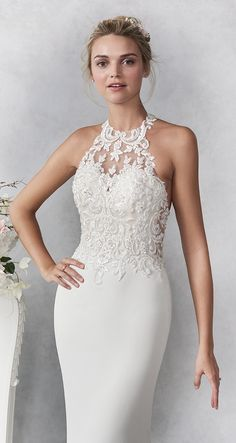 Ella Rosa style / Sexy Crepe Mermaid gown / Lace Halter Neckline / Lace Bodice / Illusion Lace back / Romantic Wedding Gown / Classy Vintage Wedding, Simple Elegant Wedding Dress, Rustic Wedding Gowns, Stunning Wedding Dresses, Wedding Dresses Plus Size, Modest Wedding Dresses, Trendy Wedding, Lace Wedding, Prom Dresses