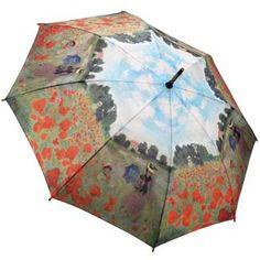Galleria Art Print Walking Length Umbrella - Field of Poppies by Monet;