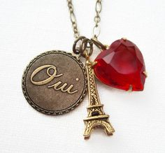 Paris Necklace Eiffel Tower Vintage Heart Rhinestone French Parisian Jewelry Oui Say YES to PARIS | parisiennegirl - Jew